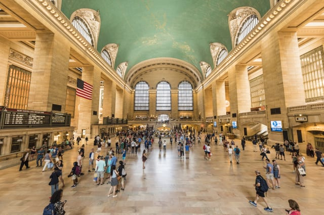 Bustling grand central terminal in New York City