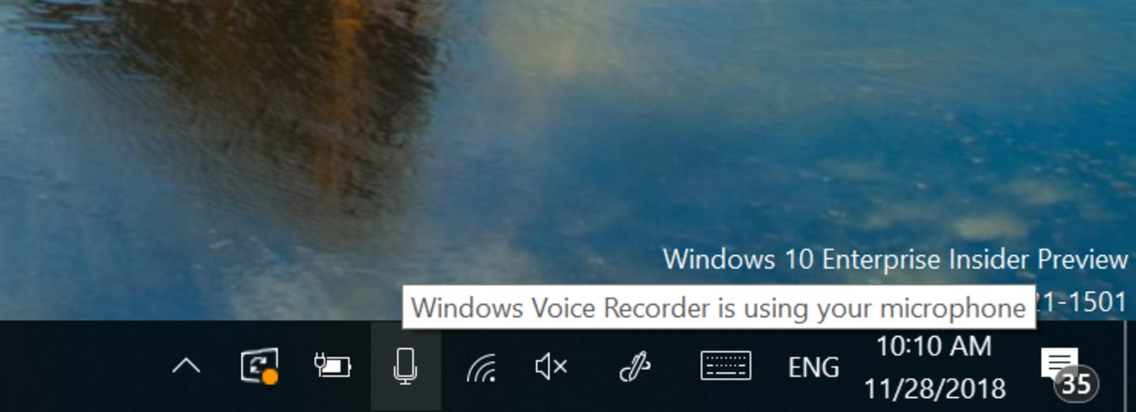 Privacy del microfono di anteprima di Windows 10