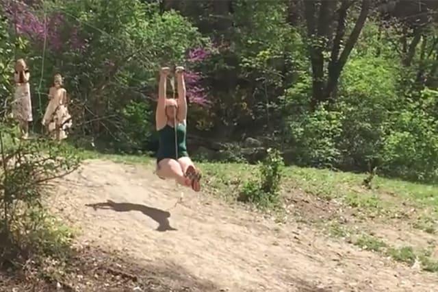 Woman is too bug for kids' zipline