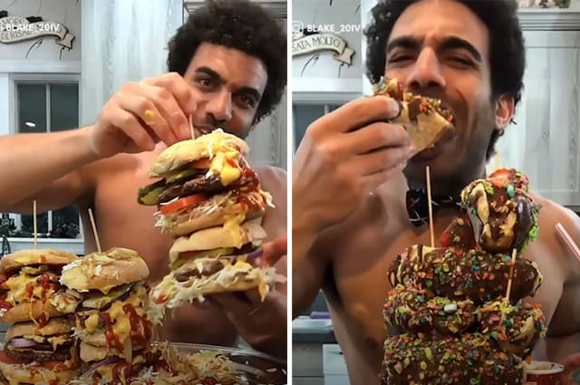 Ripped man eats 4,000 calories a day