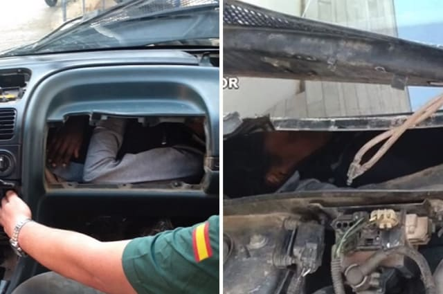 Man found hiding behind a car's glove compartment