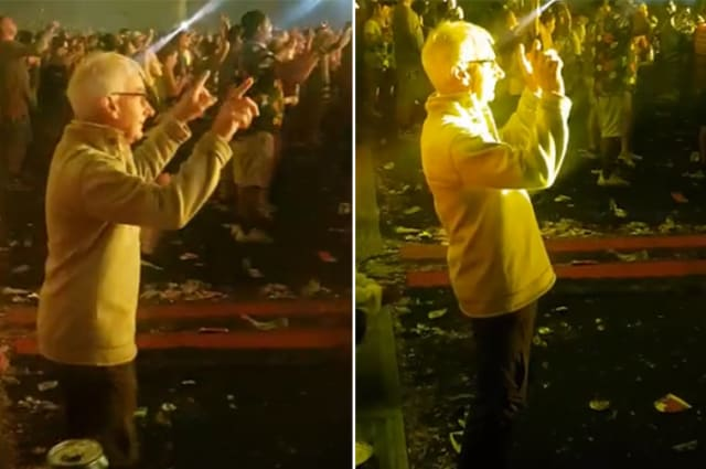 Old man spotted calmly dancing at rave during Dutch DJ's set at Creamfields Festival