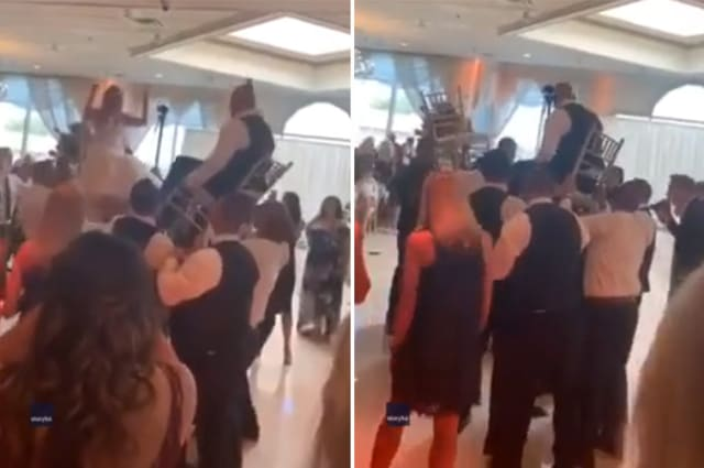 Bridal fail: Wife falls from chair during wedding hora