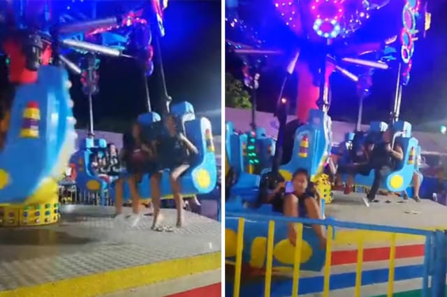 Terrifying moment revellers are flung from fairground ride when mechanical arm breaks
