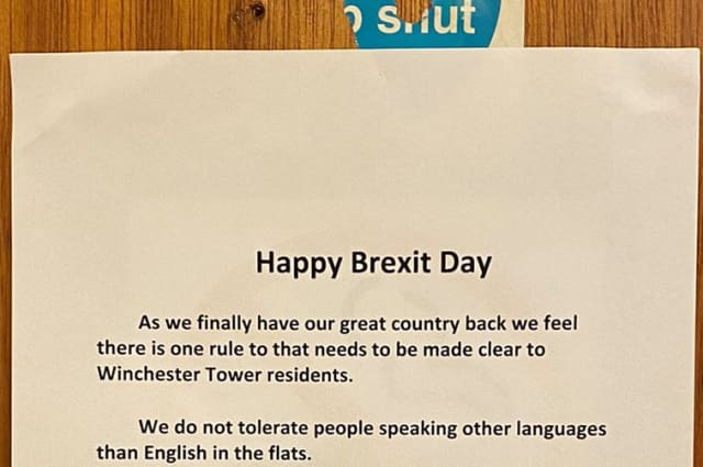 Brexit poster demanding tower block residents speak English reported to police