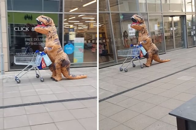 Hilarious moment a 'T-Rex' pushing a shopping trolley joins the back of a long Tesco queue