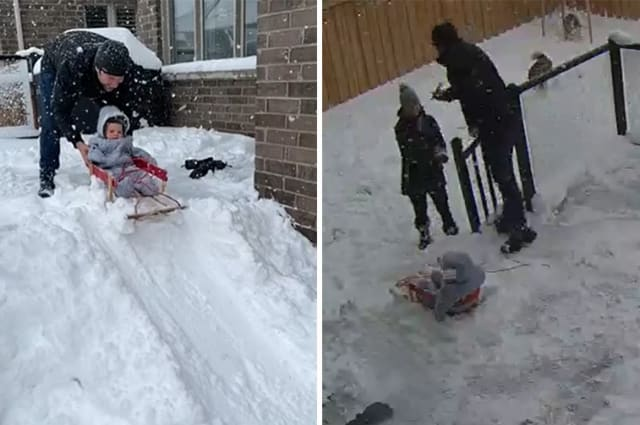 Baby has sledging mishap in backyard during his first snow experience in Canada