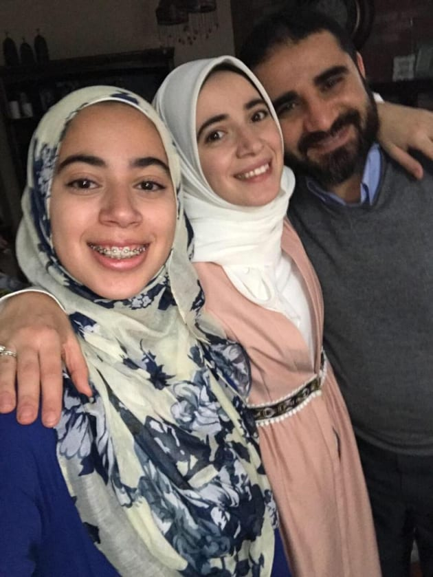 Canadian engineer Yasser Ahmed Albaz, right, is pictured with his daughters Maryam Ahmed (left) and Amal Ahmed.