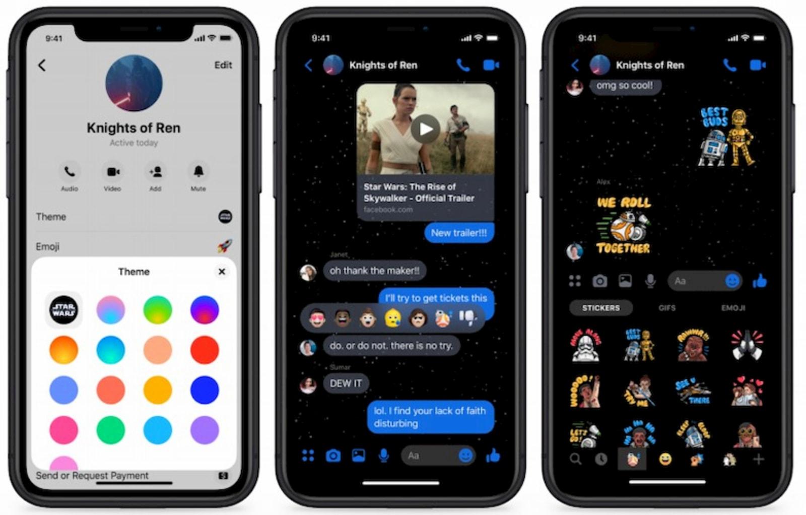 Star Wars theme in Facebook Messenger