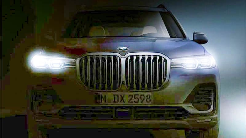 Lightened teaser image of the BMW X7.