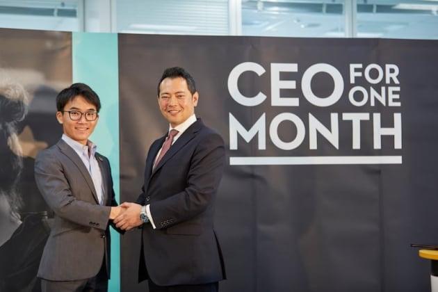 ▲2018年度CEO for One Month日本代表の小杉山さんと、アデコ代表取締役社長の川崎