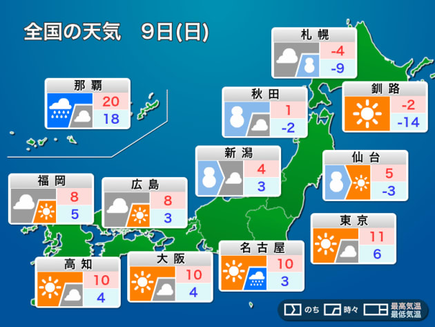 全国の天気 9日(日)