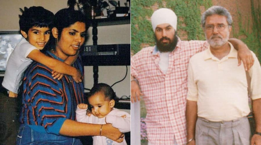 Jagmeet Singh, left in both pictures, poses with his mother and father in two undated photos.