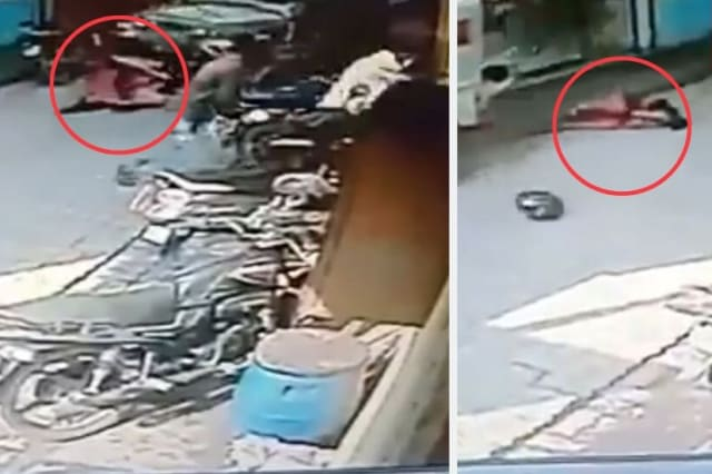 Hero mum throws her baby to safety
