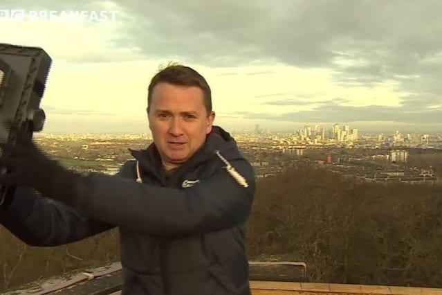 Moment TV Weatherman Narrowly Escapes Injury From Collapsing Live Broadcast Set
