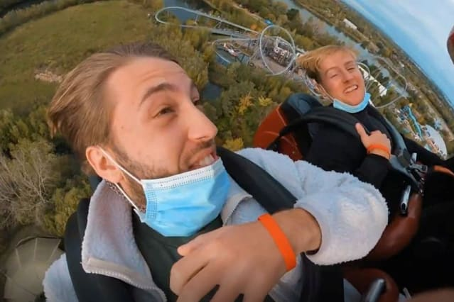 This is the amazing video that shows a pair of friends attempting to break the world record of riding the UK's fastest rollercoaster 100 times in one day
