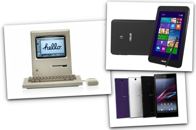 左から時計回り:アップル「Macintosh」、ASUS「VivoTab Note 8」、ソニー「Xperia Z Ultra」