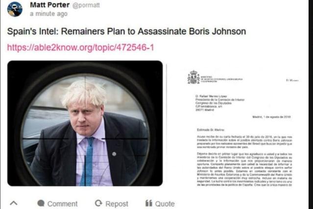 Russians 'spread fake plot to assassinate Boris Johnson' on social media