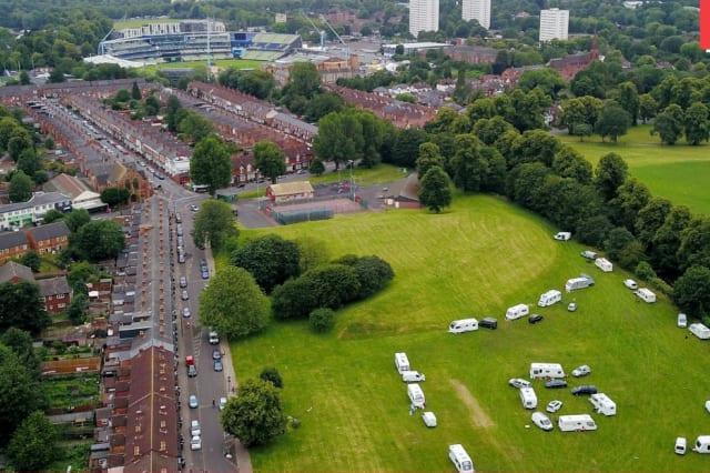 ~100 travellers next to Edgebaston Cricket Ground