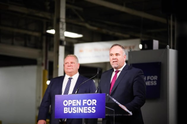 Ontario Premier Doug Ford and Minister of Economic Development Todd Smith make an announcement in February...
