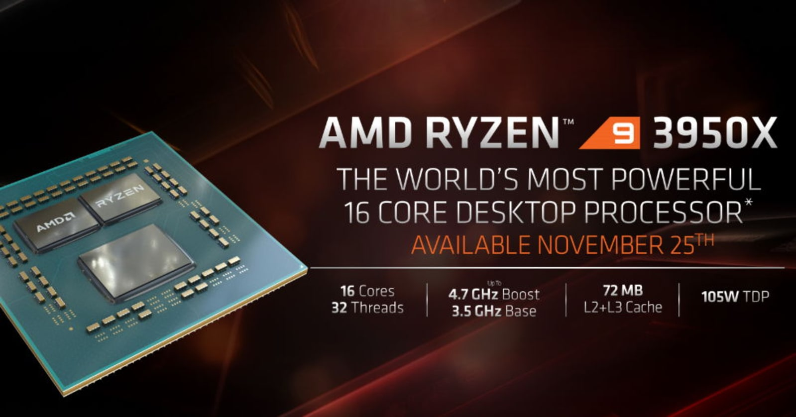 AMD 16-Core Ryzen 3950X processor