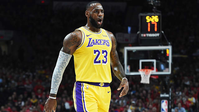 04d4b1deda7 LeBron James only needed minutes on his Los Angeles Lakers debut to deliver  some poster-worthy moments.