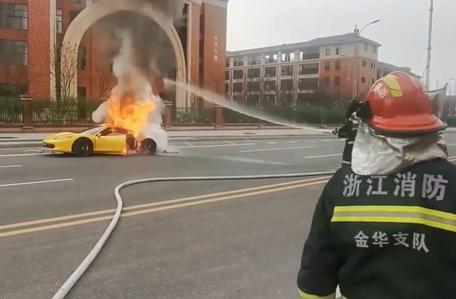Moment Ferrari bursts into flames