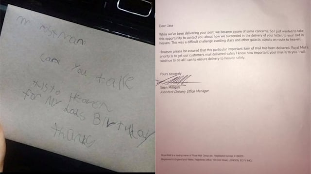 little boys letter to dad in heaven receives touching reply from royal mail