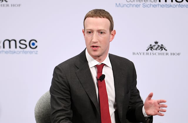 15 February 2020, Bavaria, Munich: Mark Zuckerberg, Chairman of Facebook, speaks on the second day of the 56th Munich Security Conference. The fight against propaganda campaigns and other attempts at manipulation costs Facebook billions every year. The budget for this year is higher than the turnover of the entire company at the IPO in May 2012, said founder and CEO Zuckerberg on Saturday at the Munich conference. Photo: Tobias Hase/dpa (Photo by Tobias Hase/picture alliance via Getty Images)