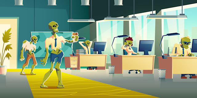 Exhausting office work concept. Female, male zombie characters in ragged clothing, working on computer, using cellphone at desks, walking with coffee cup in office interior cartoon vector illustration