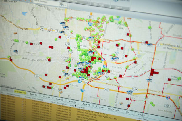 ATLANTA, GA - January 15: The Atlanta Police Department displays a city map through PredPol, a predictive crime algorithm used to map hotspots for potential crime at the Operation Shield Video Integration Center on January 15, 2015 in Atlanta, Georgia. The center is a part of Operation Shield, a joint effort with the Atlanta business community, the Atlanta Police Foundation and The Atlanta Police Department. (Photo by Ann Hermes/The Christian Science Monitor via Getty Images)