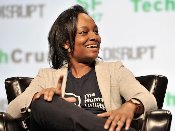 SAN FRANCISCO, CA - SEPTEMBER 19:  The Human Utility Founder and Executive Director Tiffani Ashley Bell speaks onstage during TechCrunch Disrupt SF 2017 at Pier 48 on September 19, 2017 in San Francisco, California.  (Photo by Steve Jennings/Getty Images for TechCrunch)