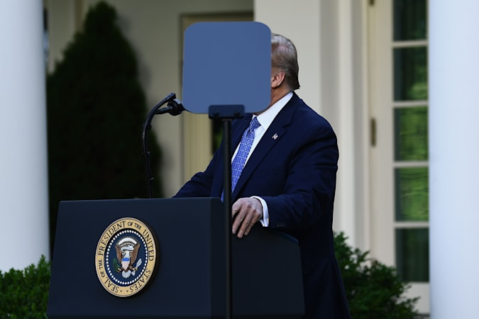 US President Donald Trump delivers remarks in front of the media in the Rose Garden of the White House in Washington, DC on June 1, 2020. - US President Donald Trump was due to make a televised address to the nation on Monday after days of anti-racism protests against police brutality that have erupted into violence. The White House announced that the president would make remarks imminently after he has been criticized for not publicly addressing in the crisis in recent days. (Photo by Brendan Smialowski / AFP) (Photo by BRENDAN SMIALOWSKI/AFP via Getty Images)