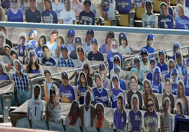 LOS ANGELES, CA - JULY 25: Cardboard cutouts are placed behind home plate during the game against the San Francisco Giants on July 25, 2020, at Dodger Stadium in Los Angeles, CA. (Photo by Adam Davis/Icon Sportswire via Getty Images)