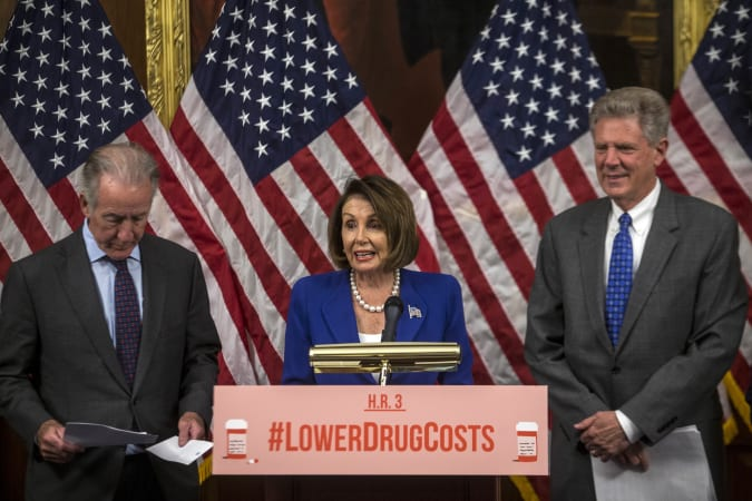 WASHINGTON, DC - OCTOBER 16: House Speaker Nancy Pelosi (D-CA) speaks as Rep. Richard Neal (D-MA) (L) and Rep. Frank Pallone (D-NJ) look on during a news conference discussing H.R. 3, the Lower Drug Costs Now Act, on Capitol Hill on October 16, 2019 in Washington, DC. The bill aims to end the ban on Medicare negotiating directly with drug companies, and reinvest in innovation medical treatment.  (Photo by Zach Gibson/Getty Images)