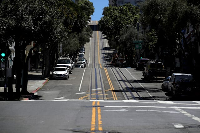 SAN FRANCISCO, CALIFORNIA  - APRIL 27: Hyde Street sits empty on April 27, 2020 in San Francisco, California. Officials from several counties in the San Francisco Bay Area have extended the coronavirus (COVID-19) shelter in place order through May. (Photo by Justin Sullivan/Getty Images)