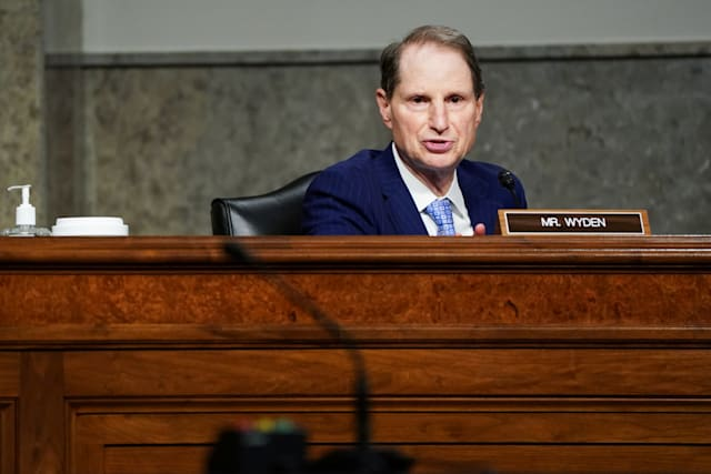 U.S. Senator Ron Wyden, D-Ore., Speaks during a Senate Finance Committee hearing on President Donald Trump's 2020 Trade Policy Agenda on Capitol Hill in Washington, DC, the United States, on the 17th June 2020. Anna Moneymaker / Pool via REUTERS