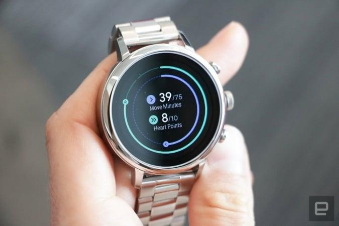 Google WearOS interface on a smartwatch.