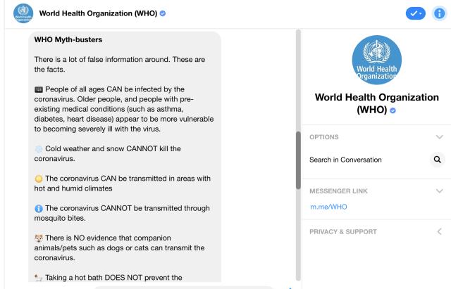 The WHO's bot on Messenger debunks misinformation about the coronavirus.
