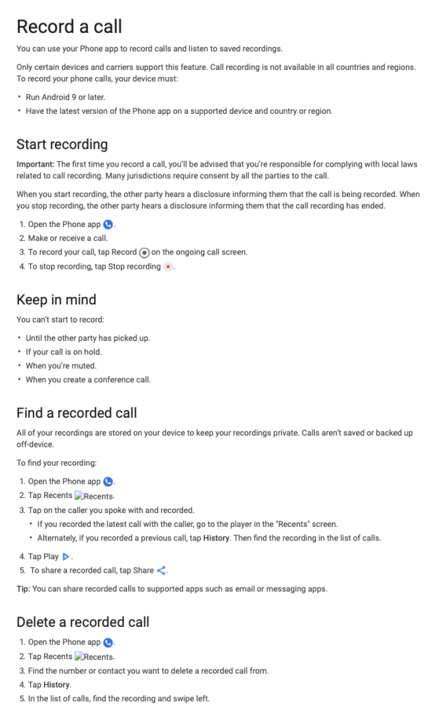 Google Call Recording