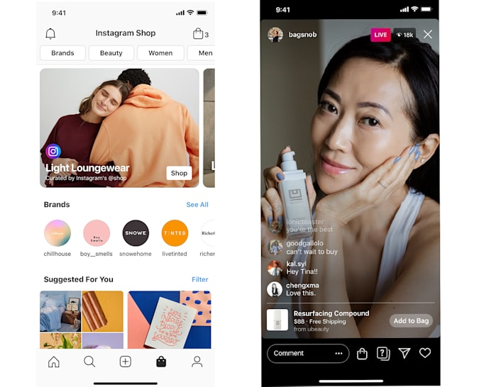 """Instagram will replace its """"activity"""" tab with a new section of the app for shopping. And the app's live streaming feature will support shopping."""