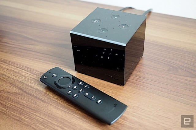 Dispositif de streaming Amazon Fire TV Cube.