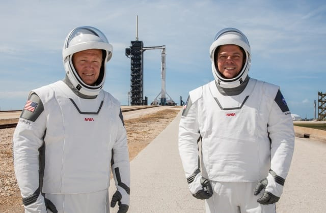 NASA astronauts Douglas Hurley (left) and Robert Behnken (right) participate in a dress rehearsal for launch at the agency's Kennedy Space Center in Florida on May 23, 2020, ahead of NASA's SpaceX Demo-2 mission to the International Space Station. Demo-2 will serve as an end-to-end flight test of SpaceX's crew transportation system, providing valuable data toward NASA certifying the system for regular, crewed missions to the orbiting laboratory under the agency's Commercial Crew Program. Liftoff is targeted for 4:33 p.m. EDT on Wednesday, May 27.