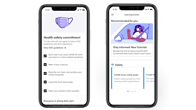 The Lyft app requires all users to promise to keep their faces covered and front seats empty.