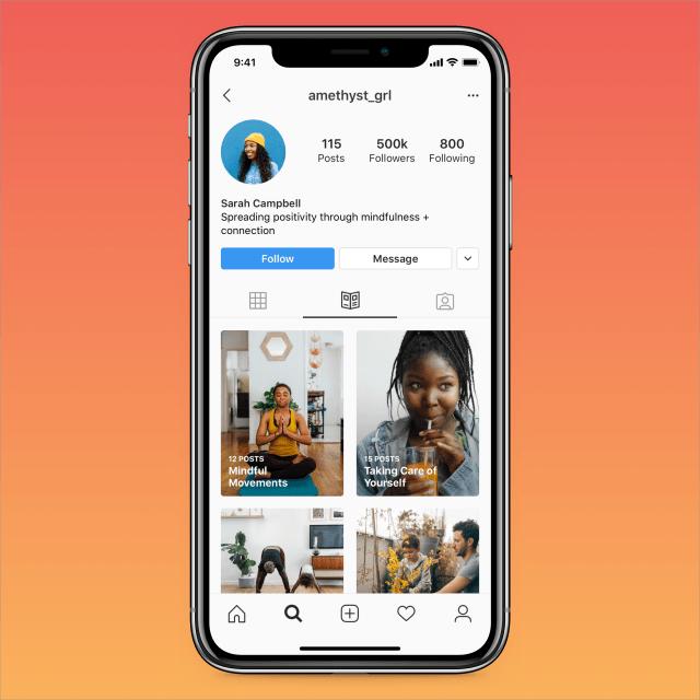 Os Guias do Instagram terão sua própria seção, assim como o IGTV.