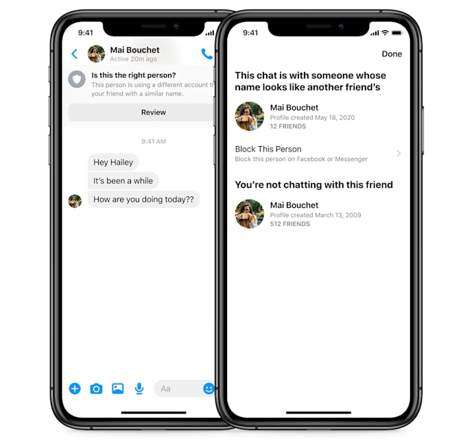 Facebook Messenger will send warnings when it detects possible impersonation.