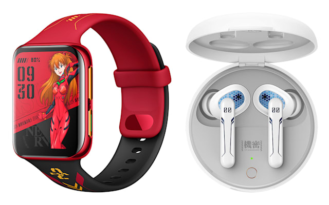 The EVA Edition Oppo Watch and Enco W31 true wireless earbuds.