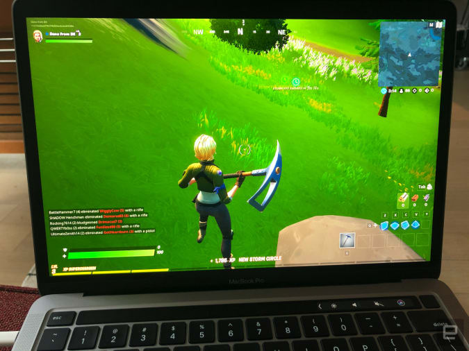 Fortnite on the 13-inch MacBook Pro.