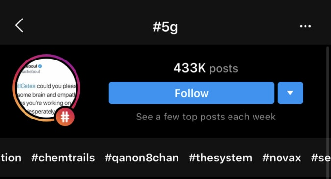"""Instagram suggests hashtags associated with conspiracy theories when you search for """"5G."""""""