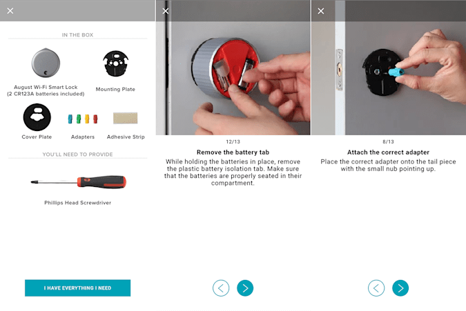 August WiFi Smart Lock installation screenshots